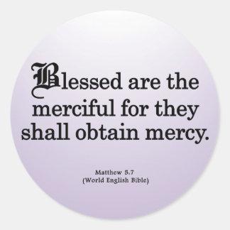 Blessing for Mercy Matthew 5-7 Round Sticker