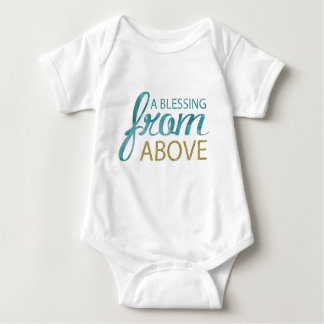 Blessing From Above Blue and Gold Glitter Baby Bodysuit
