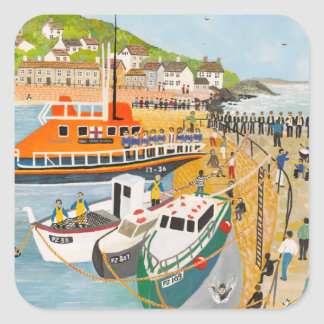 Blessing of the Lifeboat at Mousehole Square Sticker