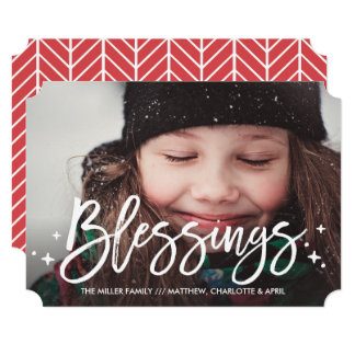 Blessings Christmas Holiday Full-Photo Card