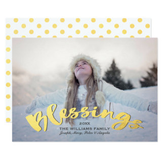 Blessings Faux Gold Script Holiday Christmas Photo Card