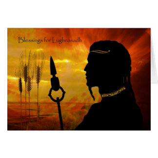 Blessings for Lughnasadh, Sun God Lugh and Wheat Card