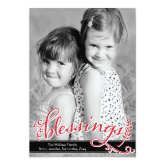"""Blessings Holiday Photo Cards 5"""" X 7"""" Invitation Card"""