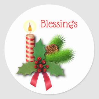 Blessings Holly Candle With Red Ribbon Classic Round Sticker