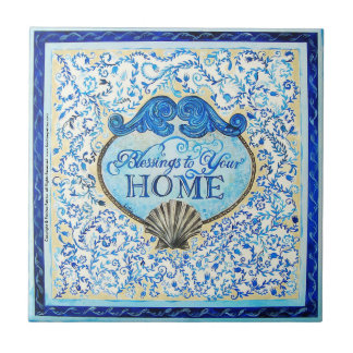 """Blessings to your Home"": 4.25""x4.25""-Ceramic Tile"