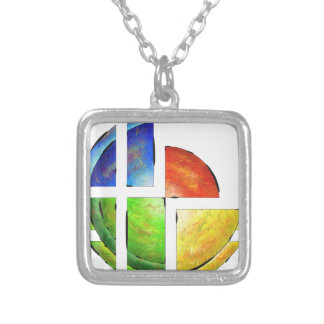 Blessinia - colourful sun silver plated necklace