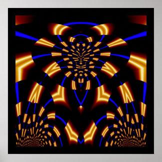 Bleu abstrait d'impression et araignée d'or affiches