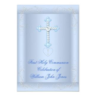 Bleu argenté de première sainte communion de carton d'invitation  12,7 cm x 17,78 cm
