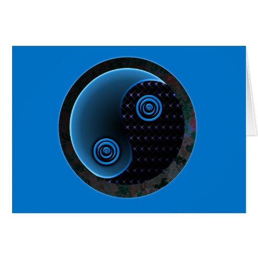 Bleu cosmique dans l'équilibre Yin Yang Carte De Vœux