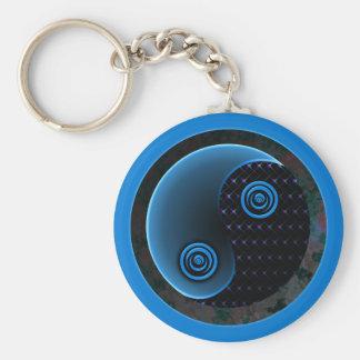 Bleu cosmique dans l'équilibre Yin Yang Porte-clé Rond