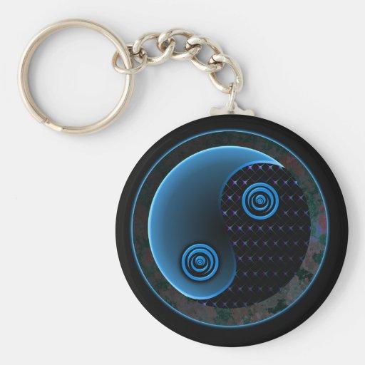Bleu cosmique dans l'équilibre Yin Yang Porte-clef