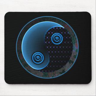 Bleu cosmique dans l'équilibre Yin Yang Tapis De Souris