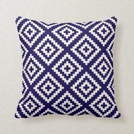 Bleu de cobalt géométrique de motif de Navajo Coussin