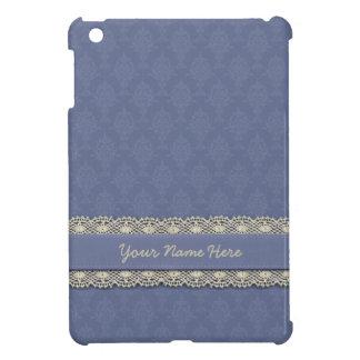 Bleu de damassé avec l'équilibre d'Ecru Coques iPad Mini