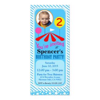 Bleu de la fête d'anniversaire d'amusement de carton d'invitation  10,16 cm x 23,49 cm