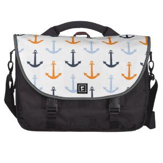Bleu de minuit, bleu layette, ancres nautiques ora sac pour ordinateur portable