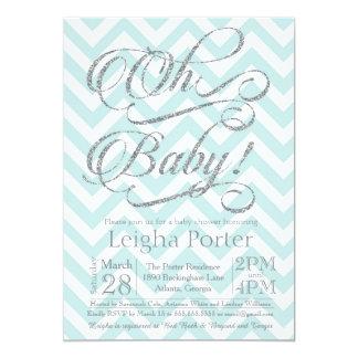 Bleu de Tiffany d'argent d'invitation de baby Carton D'invitation 12,7 Cm X 17,78 Cm