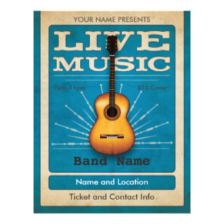 Bleu d'insecte de guitare acoustique de musique en prospectus 21,6 cm x 24,94 cm