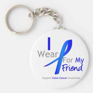 Bleu d'usage du cancer du colon I pour mon ami Porte-clé Rond