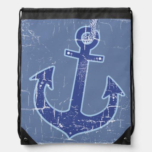 bleu élégant d'ancre maritime de marin sacs avec cordons