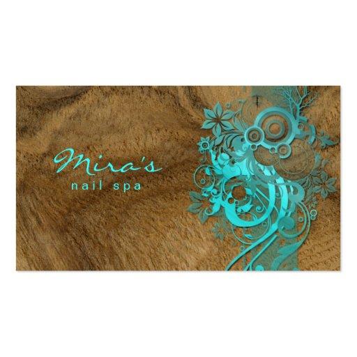 Bleu en bois de aménagement floral de carte de vis cartes de visite professionnelles