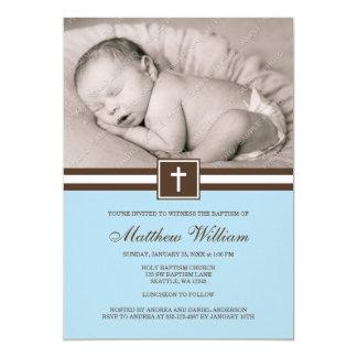 Bleu et baptême croisé de photo de garçon de Brown Invitation Personnalisable