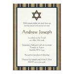 Bleu et barre Mitzvah de rayures de Brown Invitations Personnalisées