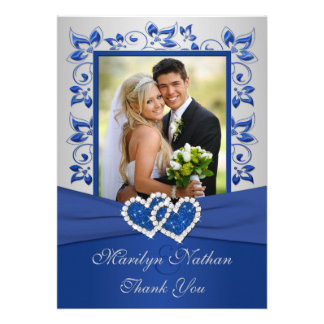 Bleu et carte de remerciements de photo de coeurs  cartons d'invitation