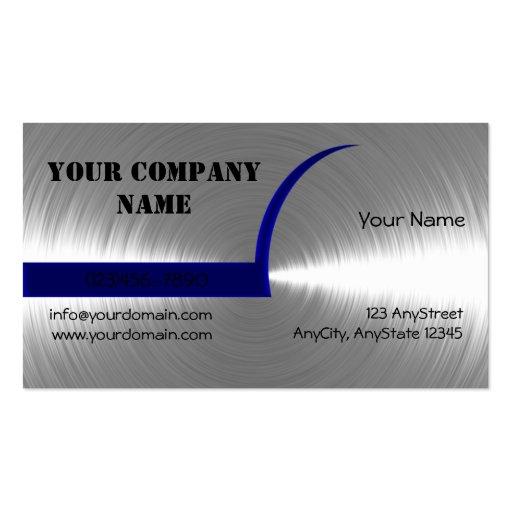 Bleu et carte de visite balayé par argent en métal