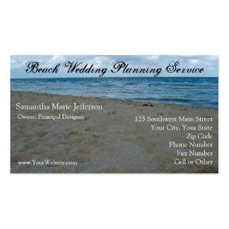 Bleu et carte de visite de plage de sable de Brown