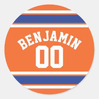 Bleu et orange folâtre le nombre nommé fait sur sticker rond