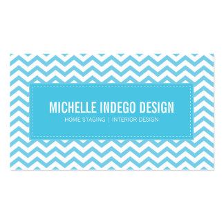 Bleu frais d'aqua de motif de chevron de CARTE DE Carte De Visite Standard