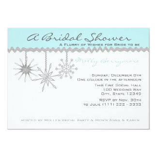 Bleu glacier nuptiale de douche de flocon de neige carton d'invitation  12,7 cm x 17,78 cm