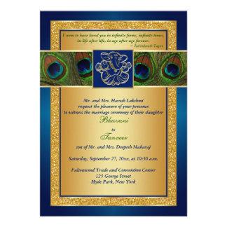 Bleu indou de Ganesh invitation de mariage de pao