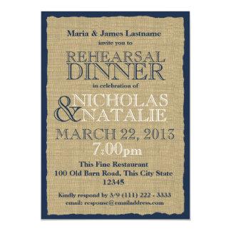 Bleu marine de dîner de répétition de regard de carton d'invitation  12,7 cm x 17,78 cm