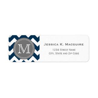 Bleu marine décoré d'un monogramme gris Chevron Étiquette D'adresse Retour