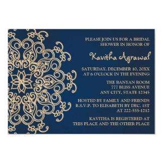 Bleu marine et douche nuptiale de style indien carton d'invitation  12,7 cm x 17,78 cm