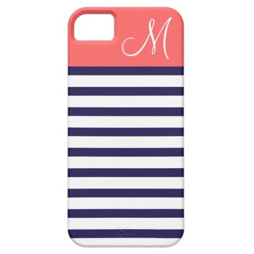 Bleu marine et monogramme de très bon goût de cora coque iPhone 5 Case-Mate