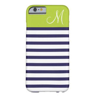 Bleu marine et monogramme de très bon goût vert de coque iPhone 6 barely there
