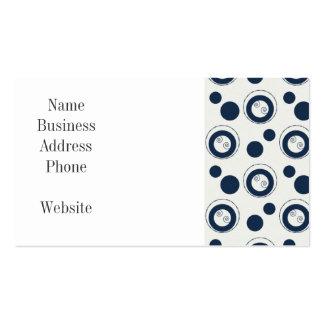 Bleu marine et pois argenté de cercles concentriqu modèle de carte de visite