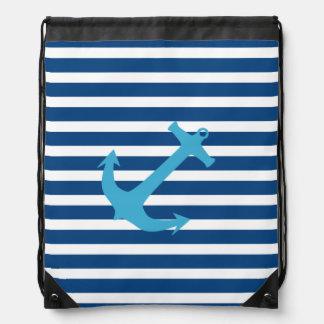Bleu marine et sac nautique de sangle d'ancre de t sacs à dos