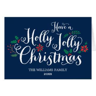 Bleu marine gai de la carte de Noël de houx |