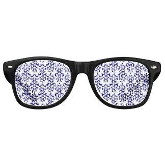 Bleu marine, motif vintage blanc 2 de damassé lunettes de soleil
