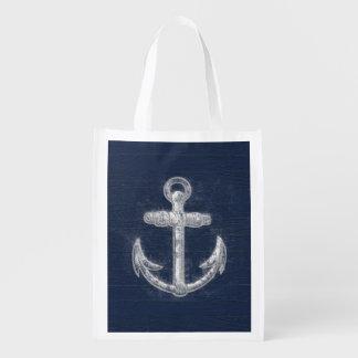 Bleu marine nautique vintage d'ancre/blanc sacs d'épicerie