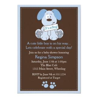 Bleu mignon d'invitation de baby shower de chiot carton d'invitation  12,7 cm x 17,78 cm