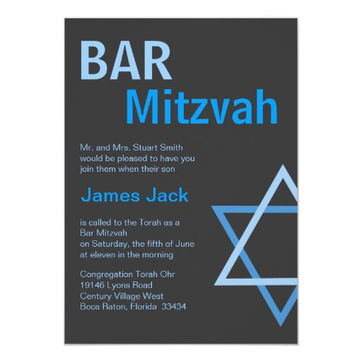 Bleu moderne et gris de Mitzvah Invitiation- de Carton D'invitation 12,7 Cm X 17,78 Cm