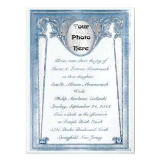 Bleu nacré - photo (faire-part de mariage) carton d'invitation  16,51 cm x 22,22 cm