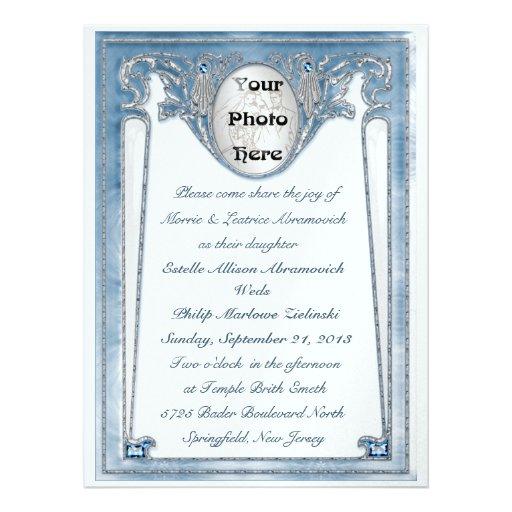Bleu nacré - photo (faire-part de mariage)