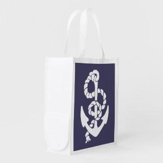 Bleu nautique et le blanc embarque l'ancre et la cabas épicerie