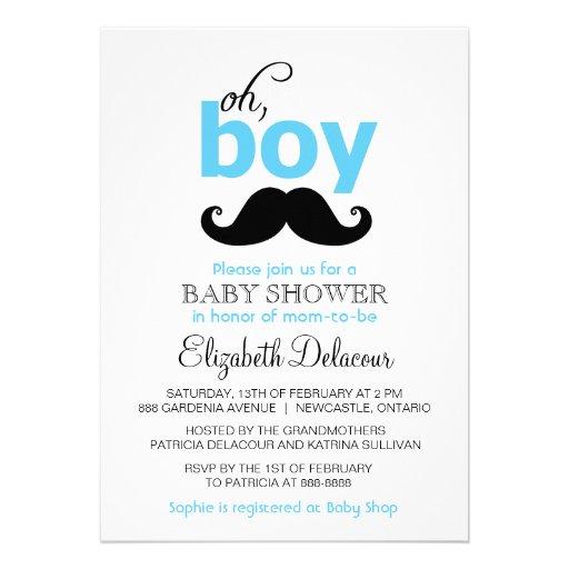 Bleu oh c'est une invitation de baby shower de mou